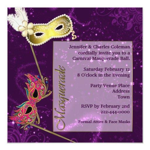 Festive Purple Custom Masquerade Ball Invitation | Zazzle
