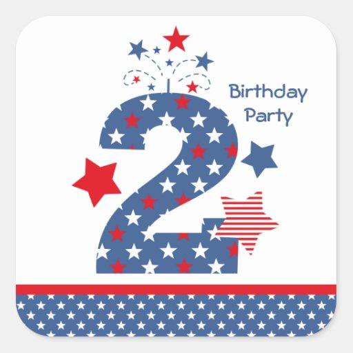 Firecracker 2nd Birthday Square Sticker