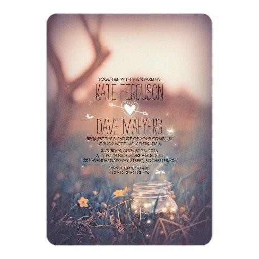Wedding Invitations Mason Jar: Fireflies Mason Jar Rustic Garden Wedding Invites