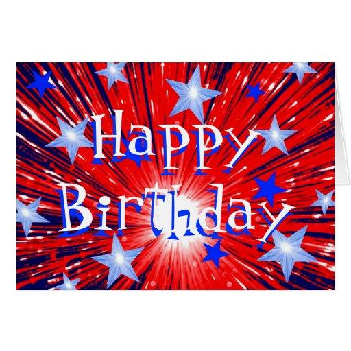 Firework Red White Blue 'Happy Birthday' card | Zazzle