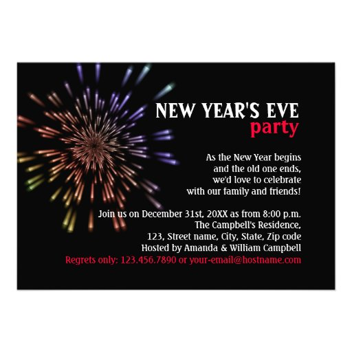 Fireworks New Year's Eve Party Invitations | Zazzle  Fireworks New Y...