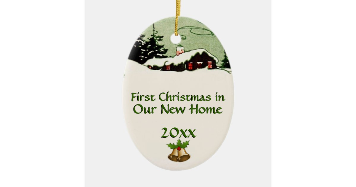 First Christmas in New Home Country Cabin Ceramic Ornament ...