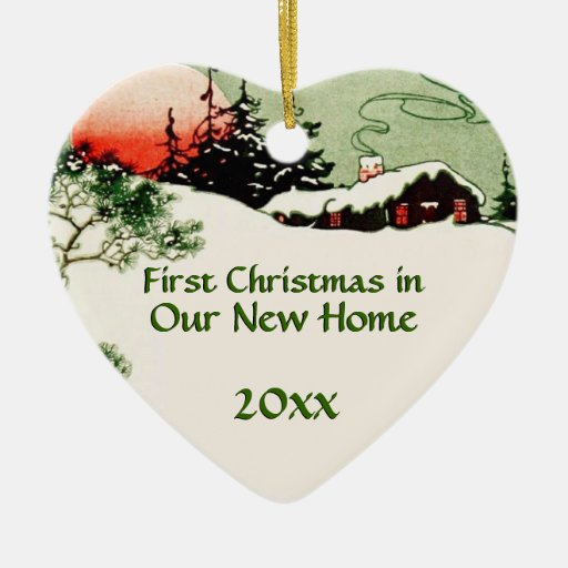First Christmas In New Home Country Cabin Heart Ceramic