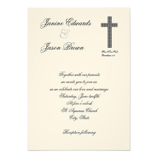 "Christian Wording For Wedding Invitations: Fishes Cross Christian Wedding Invitation 5"" X 7"