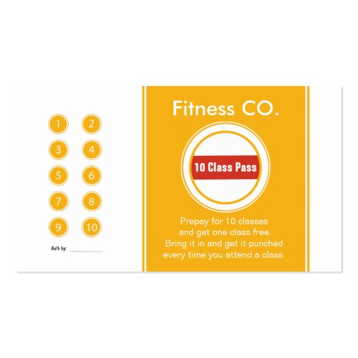 Yoga business card 10 class pass template.