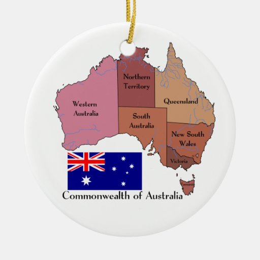 Flag and Map of Australia Double-Sided Ceramic Round ...