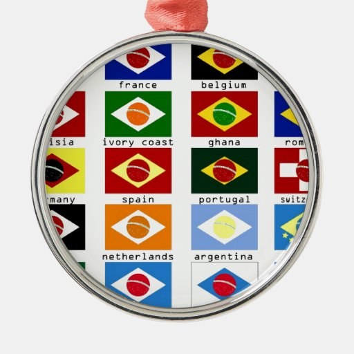 flags for the world cup in Brazil Round Metal Christmas ...