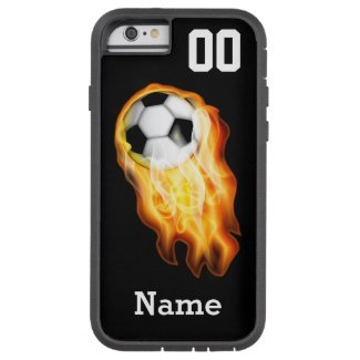 Flaming Flaming Soccer iPhone 6 Case PERSONALIZED