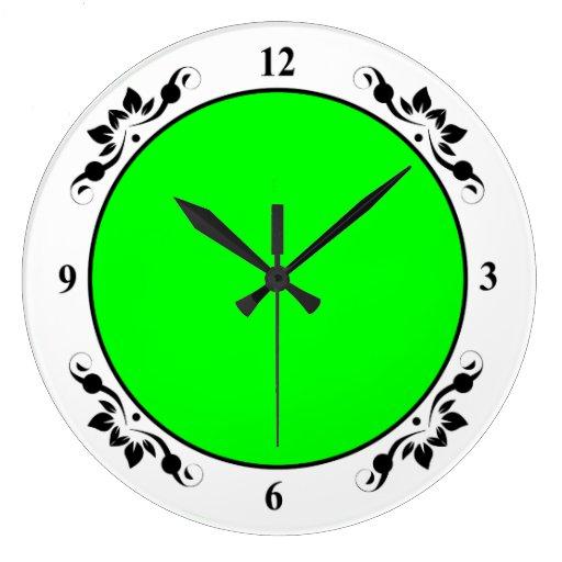 Flashy Bright Neon Green Accent Color Clock Zazzle