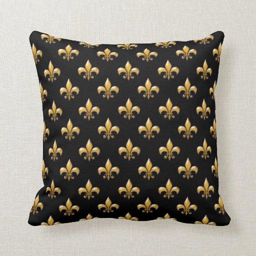 fleur de lis throw pillows in black and gold zazzle. Black Bedroom Furniture Sets. Home Design Ideas