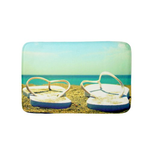 Flip Flops On The Beach Bath Mat Zazzle
