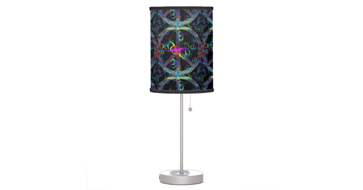 Floating Neon Peace Signs Desk Lamp Zazzle