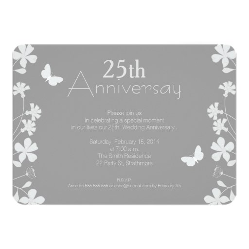 25th Wedding Anniversary Invitations: Floral 25th Wedding Anniversary Invitation