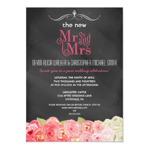 Wedding And Reception Invitations: Floral Chalkboard Post Wedding Party Invitation