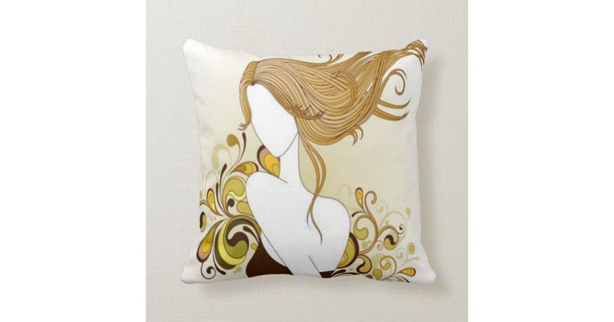 Floral Fashion Girl Pillow