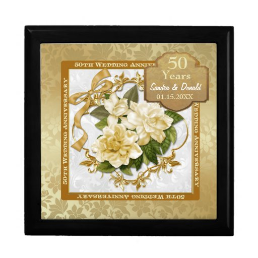 What Is The Gift For 50th Wedding Anniversary: Floral Gold 50th Wedding Anniversary Gift Boxes