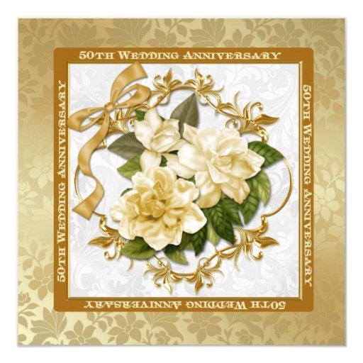 Flower For 50th Wedding Anniversary: Floral Gold 50th Wedding Anniversary Invitation