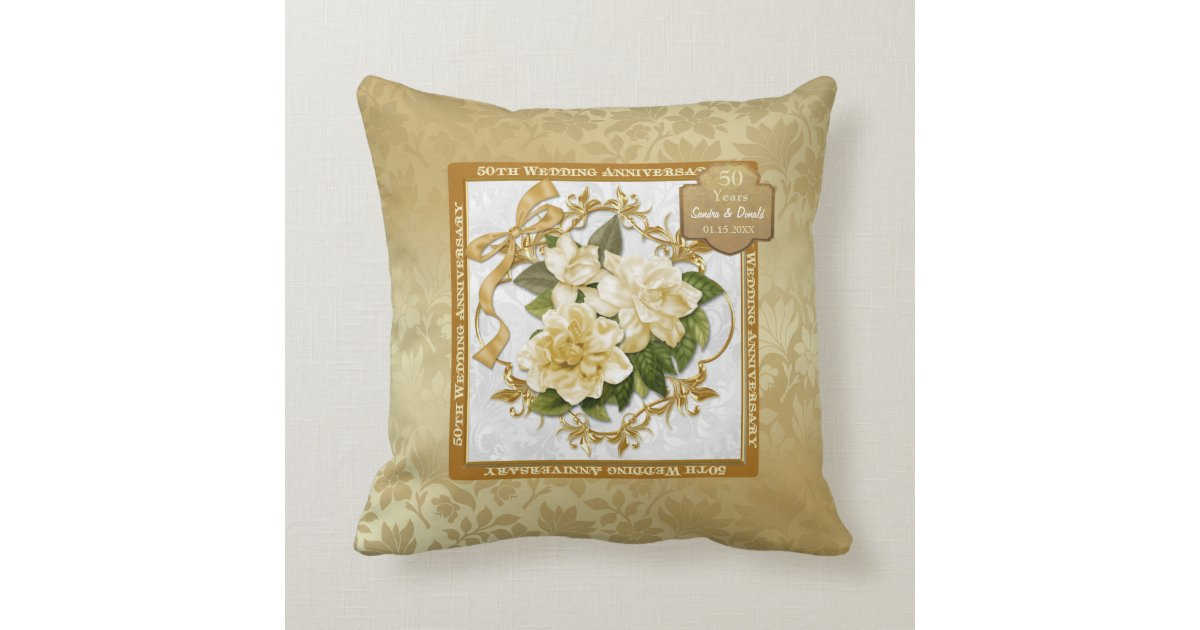 50th Wedding Anniversary Gift Pillows: Floral Gold 50th Wedding Anniversary Pillow