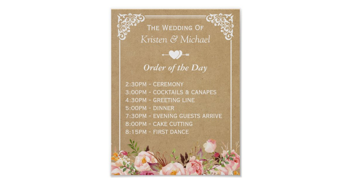 Wedding Order Of The Day: Floral Kraft Wedding Sign For Order Of The Day Poster