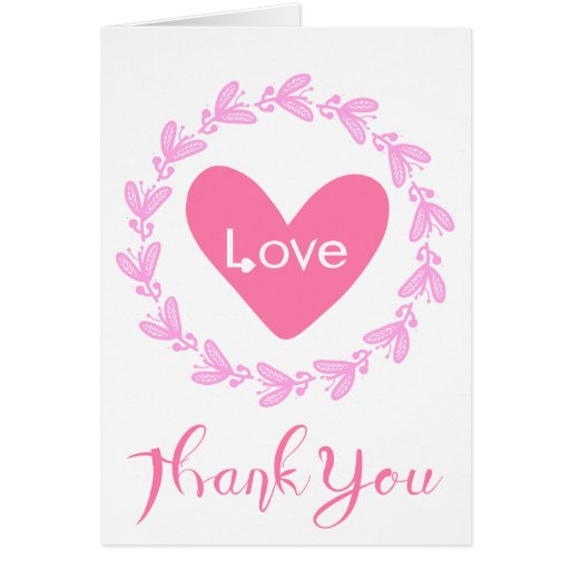 floral pink thank you heart love wreath wedding card  zazzle