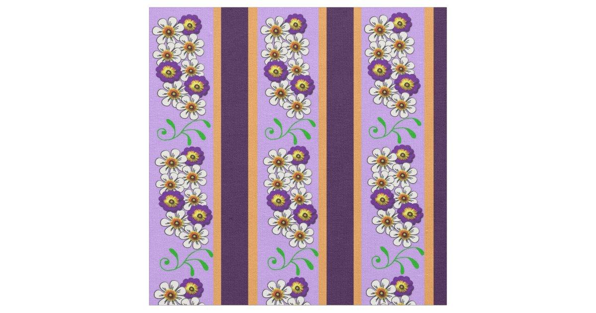 floral purple orange mix regency stripes fabric zazzle. Black Bedroom Furniture Sets. Home Design Ideas