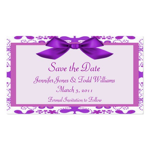 Floral save the date double sided standard business cards for Business save the date templates free