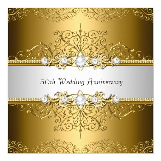 Flower For 50th Wedding Anniversary: Floral Swirl 50th Wedding Anniversary Invite