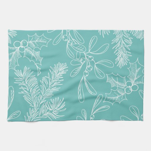 Turquoise Kitchen Towels: Floral Turquoise Christmas Pattern Kitchen Towels