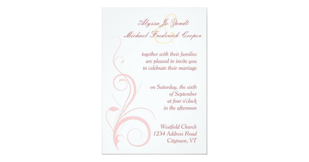 Flourish Wedding Invitations: Flourish Wedding Invitation In Champagne And Blush