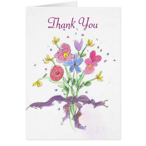 flower bouquet thank you card  zazzle