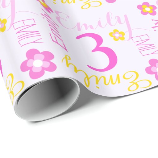 Flower Personalized Name Age 3rd Birthday Wrap Wrapping