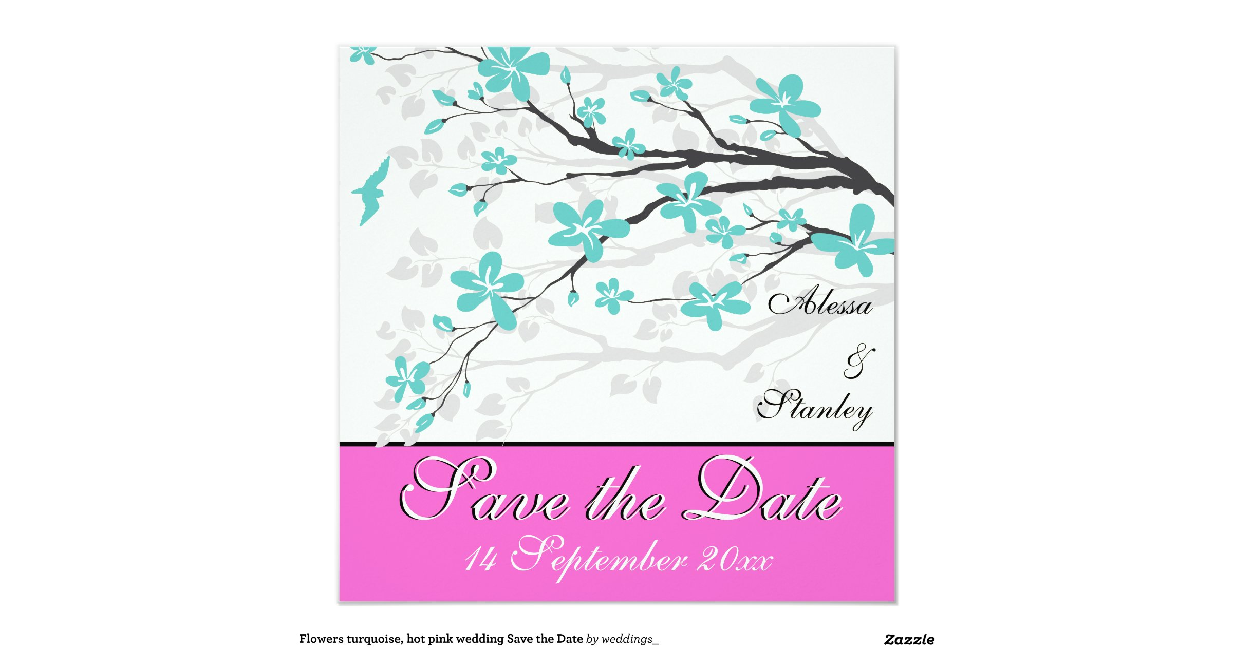 Turquoise And Pink Wedding Invitations: Flowers_turquoise_hot_pink_wedding_save_the_date