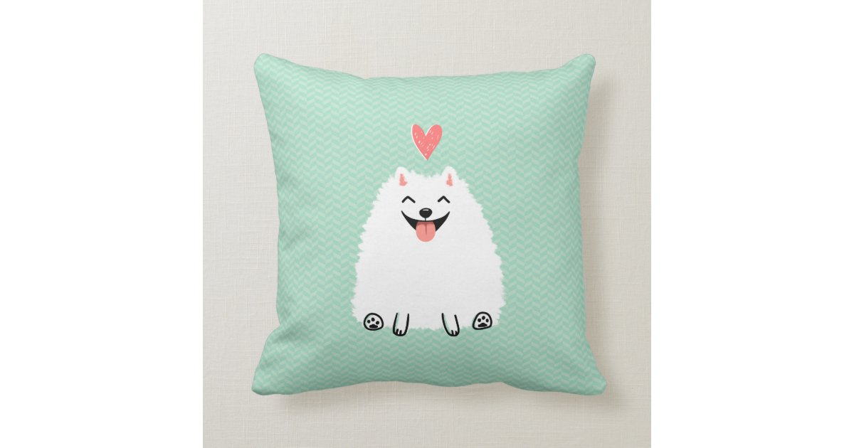 Fluffy White Pomeranian With Valentine Heart Throw Pillow