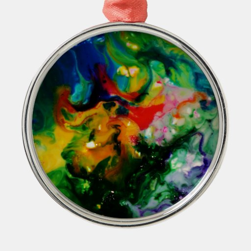 Food Ornaments Christmas: Food Coloring Art Round Metal Christmas Ornament