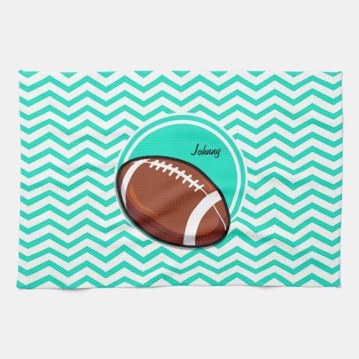 Black And White Chevron Hand Towels: Football; Aqua Green Chevron Hand Towel