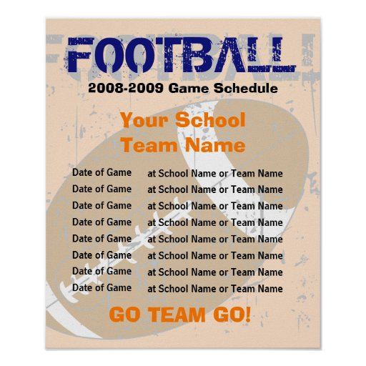 football schedule poster template zazzle. Black Bedroom Furniture Sets. Home Design Ideas
