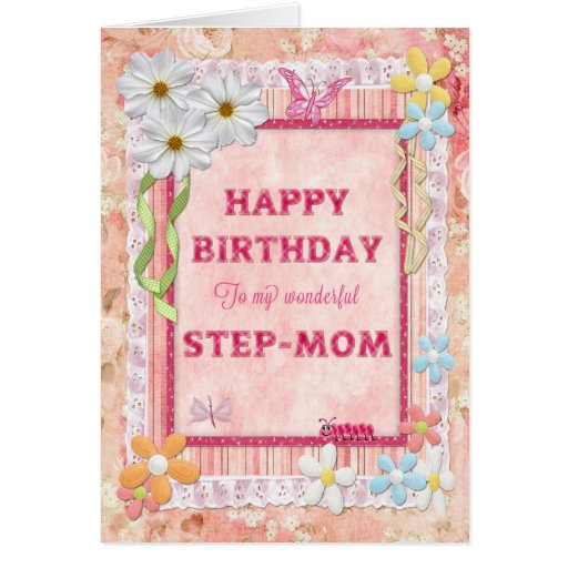 For Step-mom, Craft Birthday Card