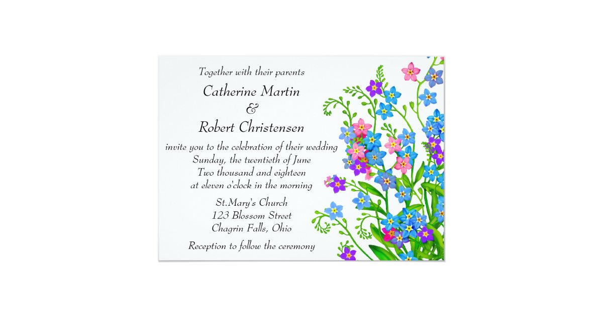 Forget Me Not Wedding Invitations: Forget Me Nots Garden Wedding Invitations