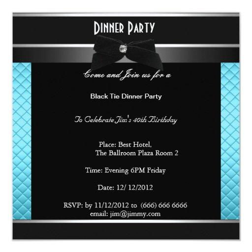 Formal Black Tie Birthday Dinner Party Card