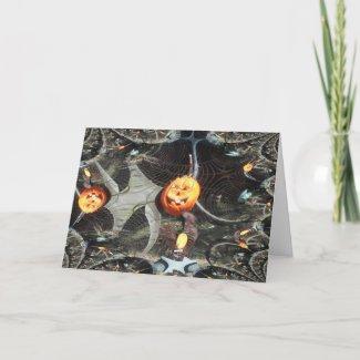 Fractal Traced Halloween Pumpkin card