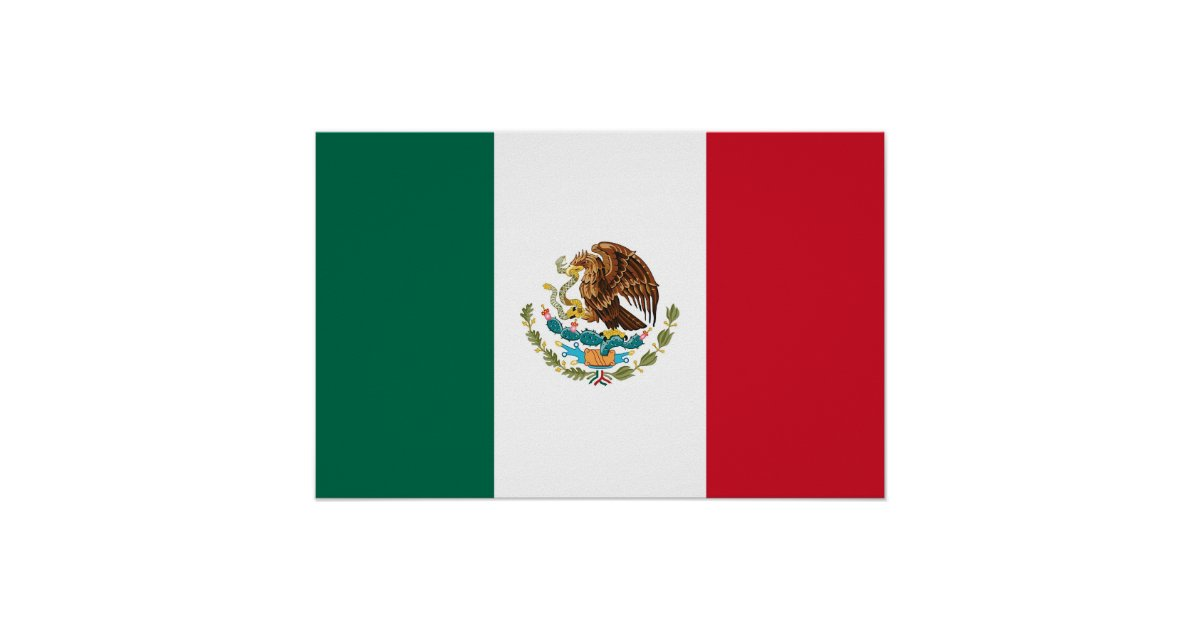 Framed print with Flag of Mexico | Zazzle