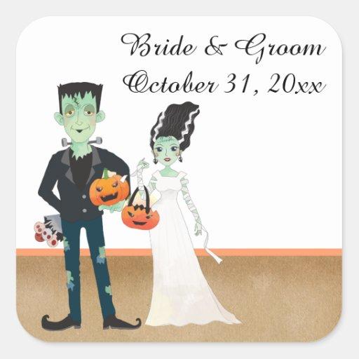 Halloween Wedding Gift Ideas: Frankenstein And Bride Halloween Wedding Square Sticker