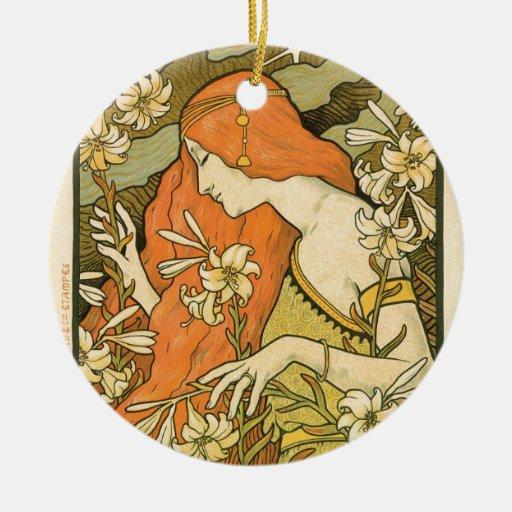 french art nouveau l ermitage poster christmas ornament zazzle. Black Bedroom Furniture Sets. Home Design Ideas