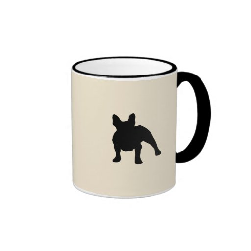 French Bulldog Silhouette Ringer Coffee Mug | Zazzle
