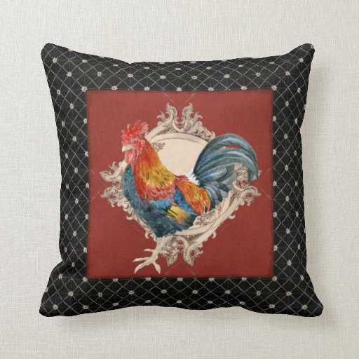 French Country Roosters Vintage Antique Home Decor Throw