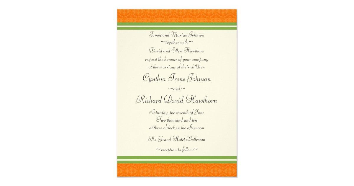 Orange And Green Wedding Invitations: Fresh Citrus Orange Green Wedding Invitations