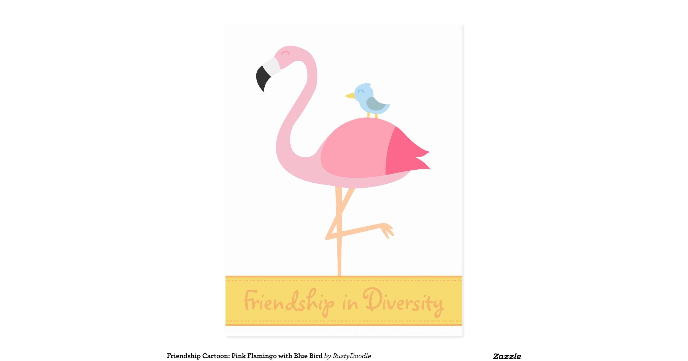 friendship_cartoon_pink_flamingo_with_blue_bird_postcard ...