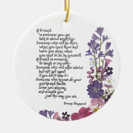 Poem About A Christmas Tree: Friendship Poem Double-Sided Ceramic Round Christmas