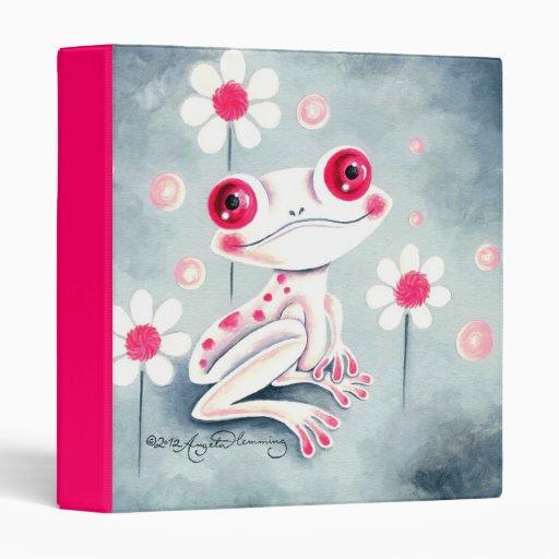 Frog Girly Pink Cute 3 Ring Binder