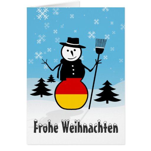 frohe weihnachten merry christmas germany snowman card. Black Bedroom Furniture Sets. Home Design Ideas